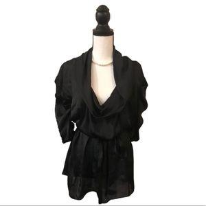 BCBG MaxAzria Flowy Black Top Large Belted Waist